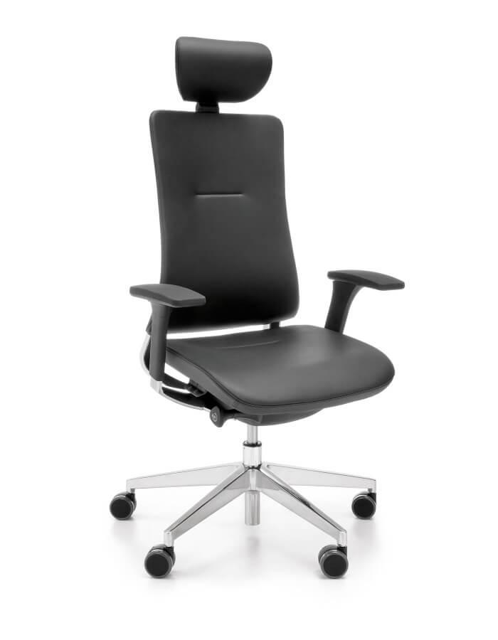 prikaz Violle crne kozne uredske stolice s glavonaslonom