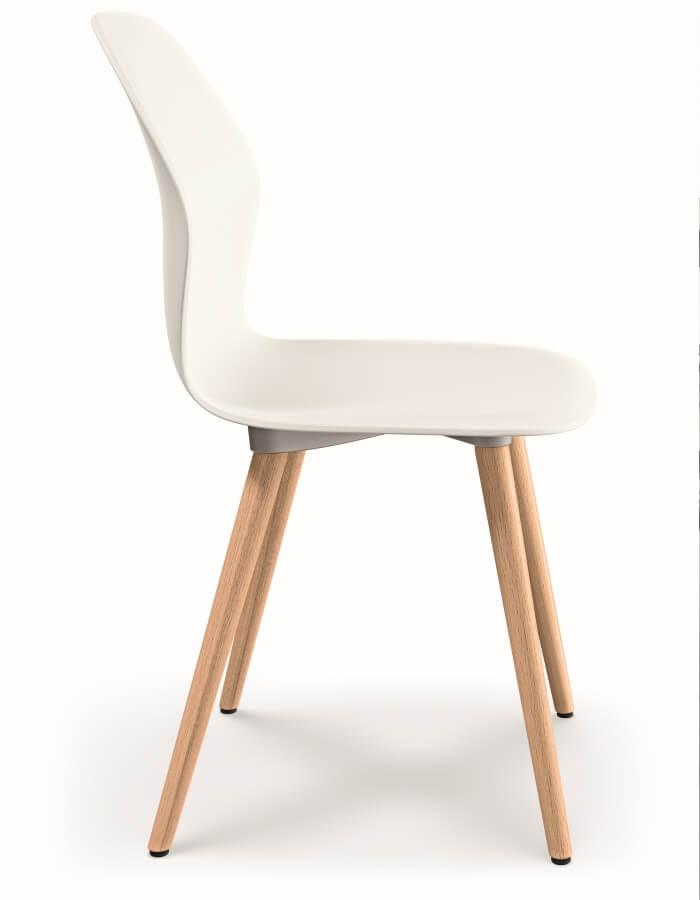 sedus se:spot bijela konferencijska stolica s drvenim nogama
