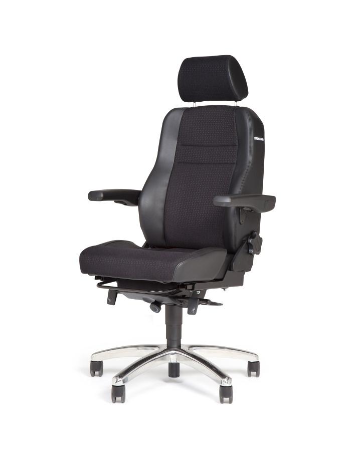 uredska stolica 24 bma secur24 basic u crnoj kozi i tkanini