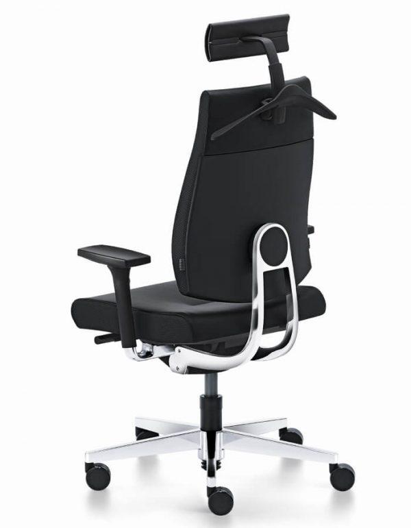 ergonomska uredska stolica black dot 24 s glavou crnoj tkanini s glavonaslonom
