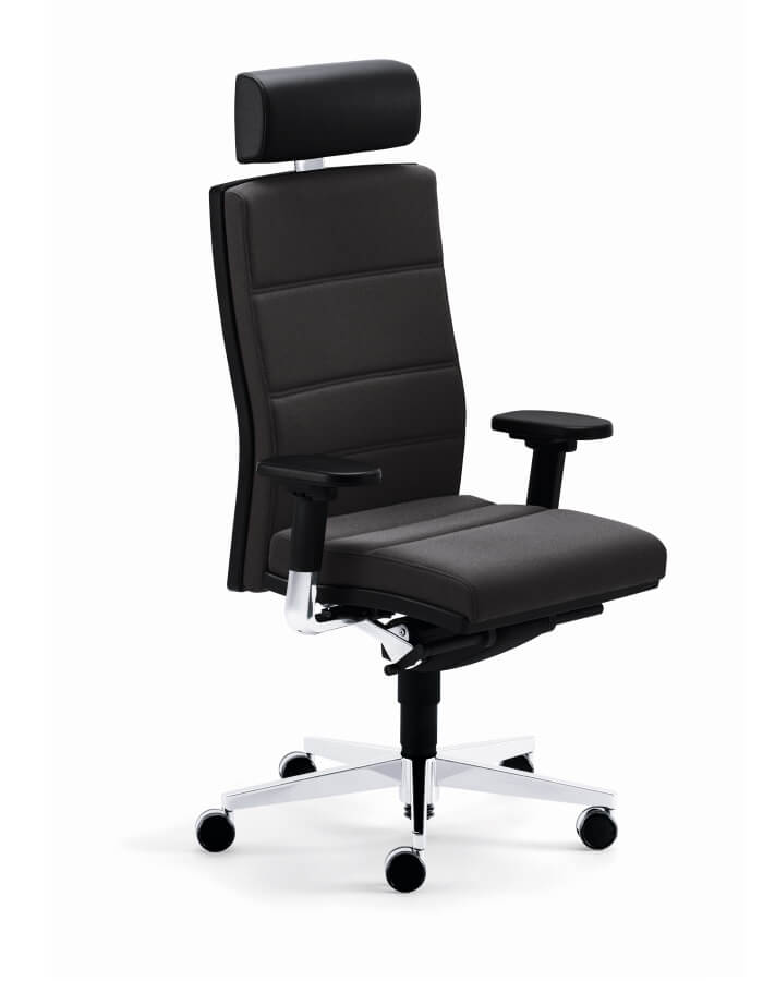 uredska stolica mr 24 u crnoj kozi s podesivim rukonaslonima